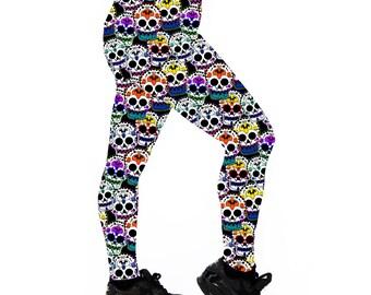 Skate Sugar Skull Leggings. Leggings. Yoga Leggings. Roller Derby Leggings. Sugar Skull Leggings. Day of the Dead Leggings. Printed leggings