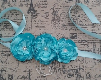 Big Blue Flower Maternity Sash