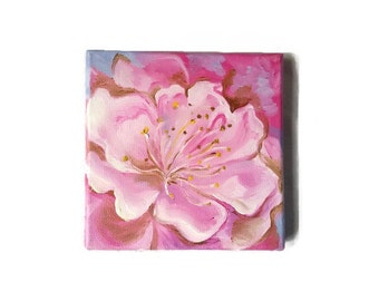 Original Oil Painting Miniature Pink  Flower 15*15 cm Ideas Gift for mom