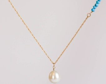 June and December Birthstone, Pearl and Turquoise Necklace, Real Turquoise and Pearl Jewelry, Freshwater Pearl Jewelry