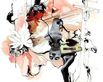 Art print, Illustration, Watercolour, Collage, Ink, Original Art, Print, Gift, Home, Art wall. A3 Wild Woman