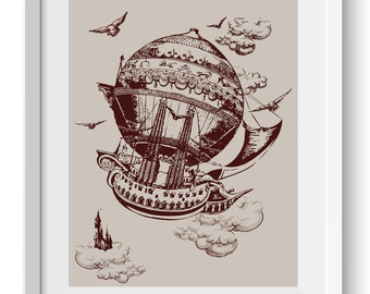 Vintage Steampunk Airship Art Print Hot Air Ballon Print