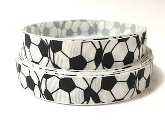 7/8 Soccer ribbon, soccerball ribbon, soccer ball ribbon, sports grosgrain ribbon, soccer grosgrain ribbon