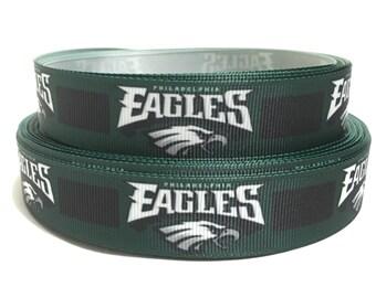 7/8 Philadelphia Eagles Ribbon, Eagles Grosgrain Ribbon, Philadelphia Ribbon, Eagles Ribbon, NFL Eagles ribbon