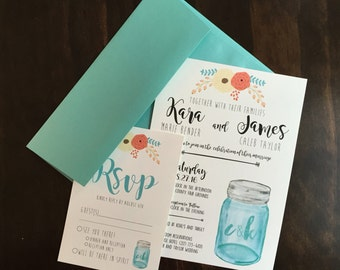 Rustic Mason Jar Wedding Invitations (50)