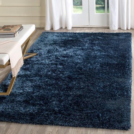 Saphire Blue Navy Blue Dark Blue Shaggy Shag Area By
