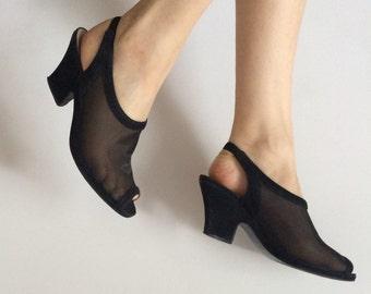 Black suede and mesh sling back heels size 8