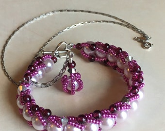 Fuchsia, plum and lilac bracelet with matching sterling silver necklace