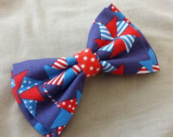 4th of July Patriotic Fabric Hair Bow/ Bow Tie 5x3 inches (13x7 cm)