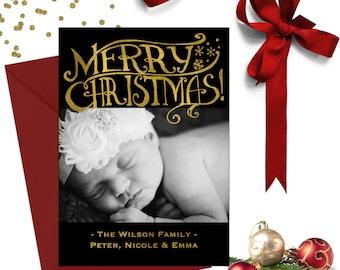 Black and Gold Christmas Photo Card; Holiday Cards; Photo Christmas Cards; Photo Holiday Cards; Christmas Card Photo; Holiday Photo Cards