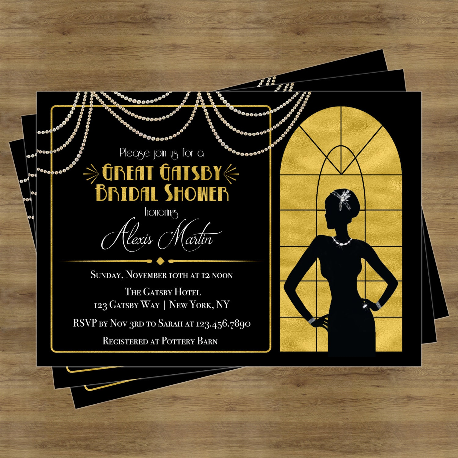 great gatsby invitation gatsby bridal shower invitation. Black Bedroom Furniture Sets. Home Design Ideas
