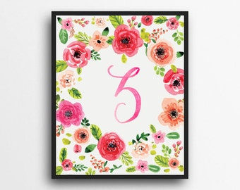 Monogram Letter Z Print | Floral Wreath Monogram | Initial Print | Watercolor Floral Print | Digital Download