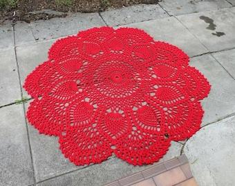 Red Crochet Floor Rug