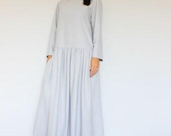 Linen Dress, Grey Linen Dress, Summer linen dress, Loose fit dress, One size linen tunic, Every day dress, Plus size dress, Linen kimono