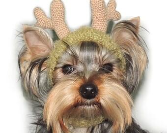 Reindeer Dog Hat/Knit Dog Hat/Pet Reindeer Hat/Dog Hat Beanie/Crochet Reindeer Hat/Dog Hat for Small Dog/Christmas Dog Hat/Photo Prop