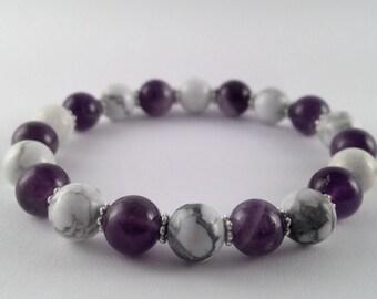 Gemstone Bracelet Amethyst And Howlite Stretch Jewellery Purple And White Elastic Bracelet Calming Healing Bracelet Gemstone Jewellery