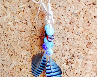 Jay feather and bead drop earrings
