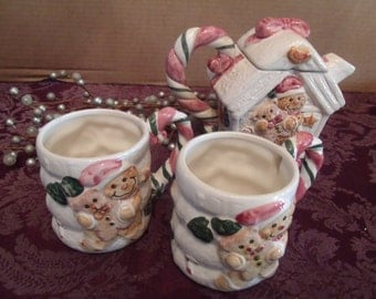 Four piece Hot Chocolate/ Tea Set for the Cold Winter Days, (# b4)