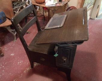 1900's Antique Mailthrop Oak school desk