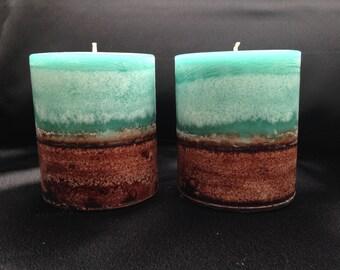 Small Round Set - Sage & Lemongrass - handmade scented pillar candle.
