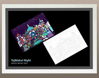 Taj Mahal Night- Cubistic Abstract style