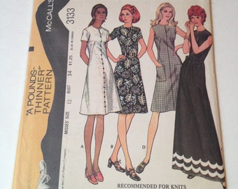 McCall's Easy Knits 3133 Vintage Cut Sewing Pattern 1970s Maxi Midi Dress Size 12