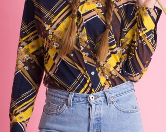Funky 70's floral striped blouse
