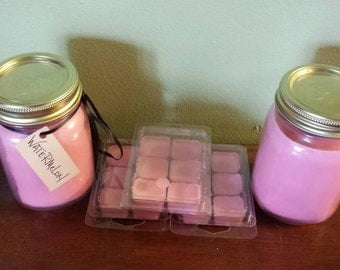 16oz mason jar, soy candle. Watermelon scent. Soy wax burns clean, evenly, and longer.
