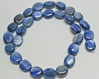 Natural Blue Kyanite Oval 14x10mm Loose Beads, Natural Gemstone Beads, Semi precious Gemstone Beads, Full Strand, Wholesale Beads, Blue Bead
