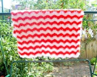 handmade soft baby blanket, crochet baby blanket, V stich ripple crochet blanket, handmade blanket, crochet quilt, multicolor blanket