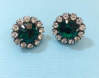 Emerald Green Rhinestone Post Earrings Womens Jewelry Accessories