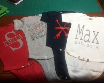 Infant boy clothes, baby boy onesie, gift set