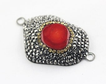 Red Coral Pave Crystal Focal Pendant with two loops