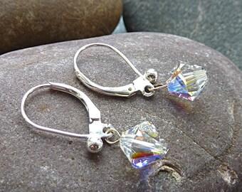 Silver Swarovski Earrings. Swarovski Aurora Borealis Crystal Beads and 925 Silver / Sterling Silver Dangly Drop Earrings for Pierced Ears