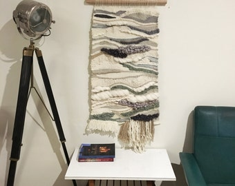 Large weaving wall hanging - hand spun & botanically dyed yarns