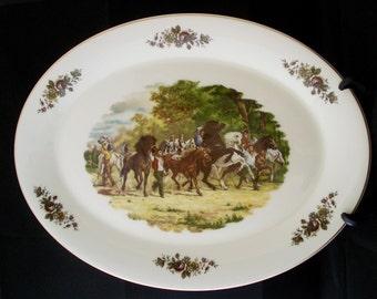 Large china serving platter French scene