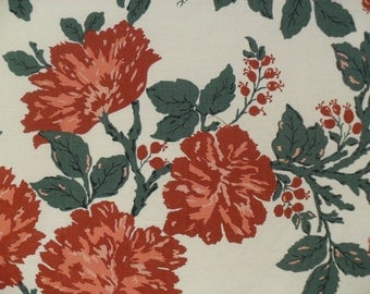 Vintage Cottage Floral Fabric Cotton Cloth Terracotta Red and Green Material
