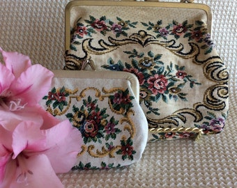 Vintage and elegant purse petit point tapestry evening bag clutch with small little change pouch  Japan
