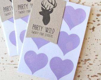 Heart Stickers Pk24 3.8cm - Lilac Purple