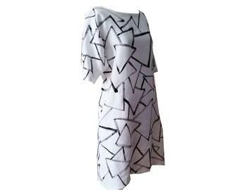 White linen dress, womens linen dress, tunic dress, hand painted dress, painted dress, minimalist, kimono sleeve dress, linen tunic dress