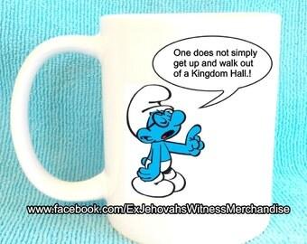 Funny Smurf Jw urban legend mug-  Ex-JW,  XJW, APOSTATE mugs, Ex Jehovahs Witness