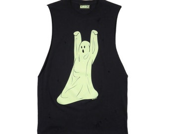 Tip-Toe Ghost Distressed Sleeveless T-shirt