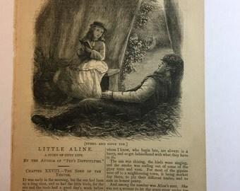 Vintage Book Page - Sunshine - October 1876 - Illustrated