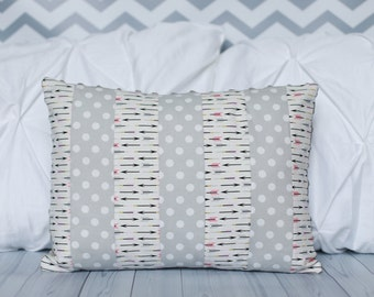 Nursery Pillow -Pink Arrows - Polka Dots - Baby Pillow - Minky Pillow