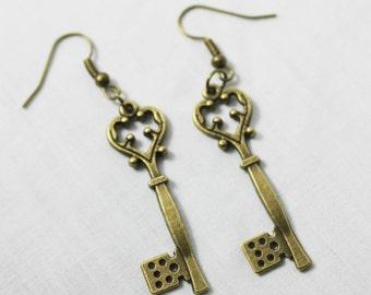Antique Bronze Key Earrings