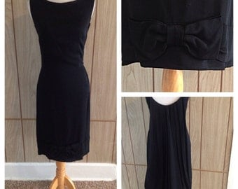 Vintage 1960's little black waterfall metal zipper back JANE ANDRE of CALIFORNIA dress - small
