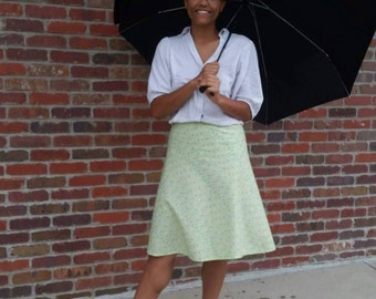 """High Waisted """"Singing in the Rain"""" Skirt with Zipper - Size Medium"""