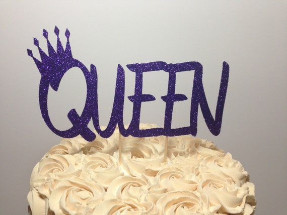Queen Cake Topper Birthday Glitter Decorations by TheChicBootique