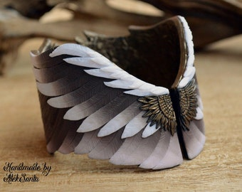 Wing bracelet cuff bangle Polymer clay bracelet Polymer clay jewelry Jewelry for women Brown bracelet Eagle wing Feather jewelry Wing cuff