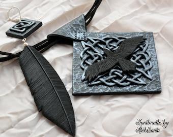 Raven jewelry set Raven pendant Raven necklace Raven earring Celtic jewelry set Celtic pendant Celtic necklace Feather earring Black jewelry